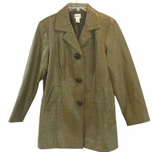CHICO'S Leather  Faux Crocodile Trench Jacket